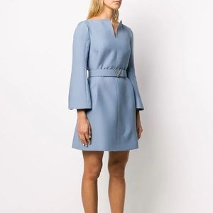 Valentino blue wool belted bell sleeve dress 46